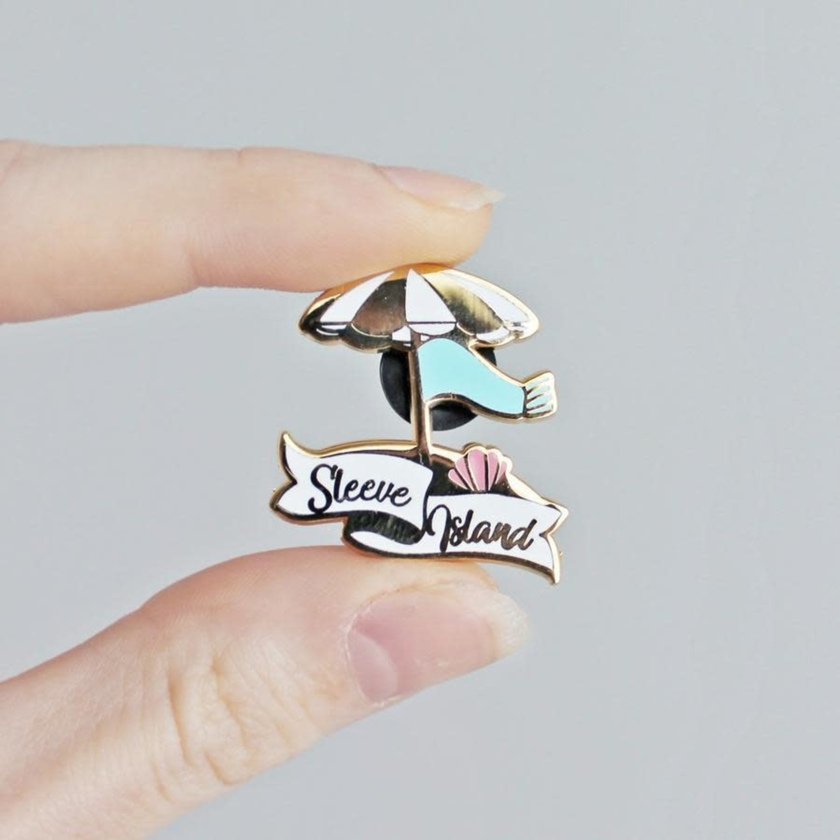 Twill & Print Sleeve Island Enamel Pin