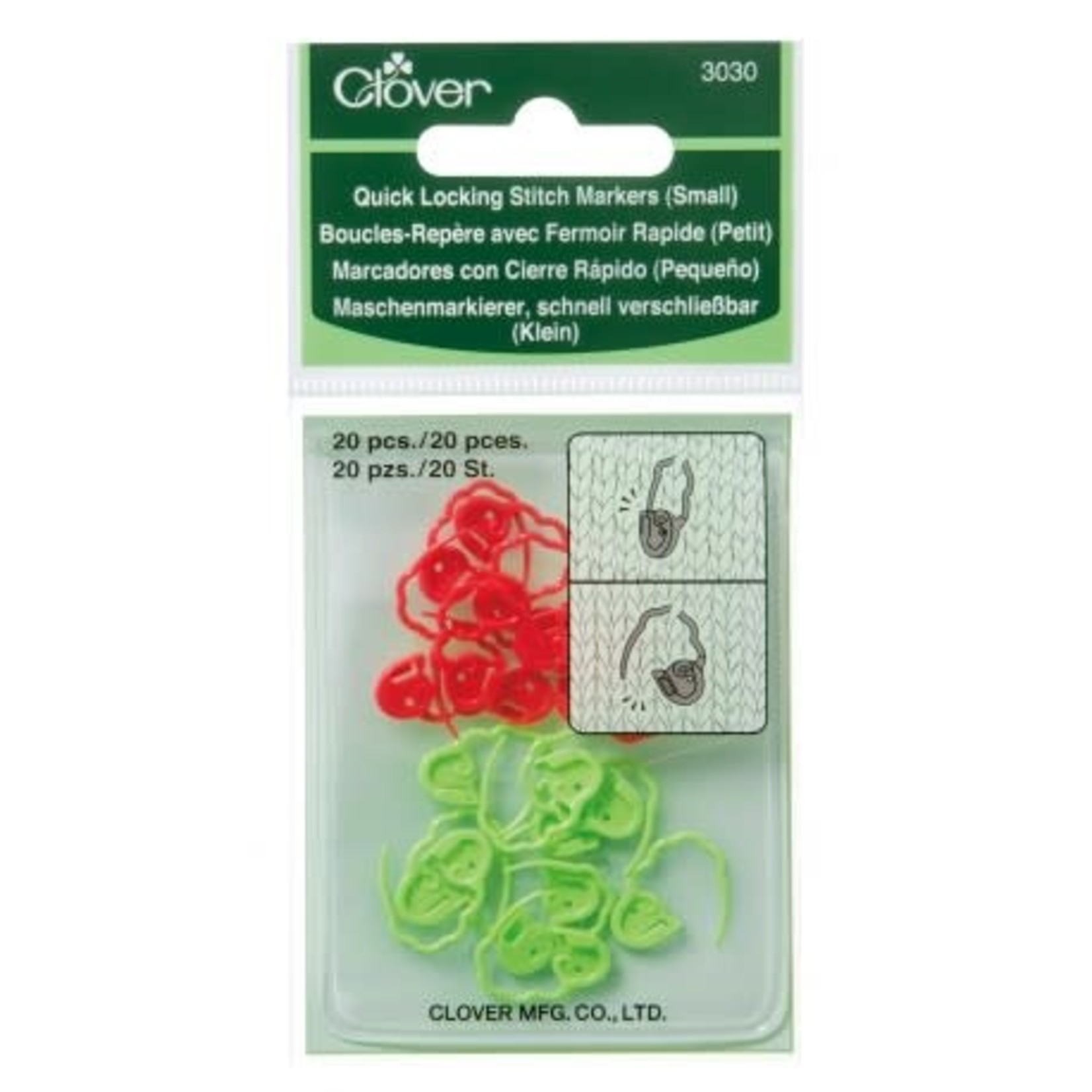 Clover Clover Quick Locking Stitch Markers (Small) - 20 pcs.