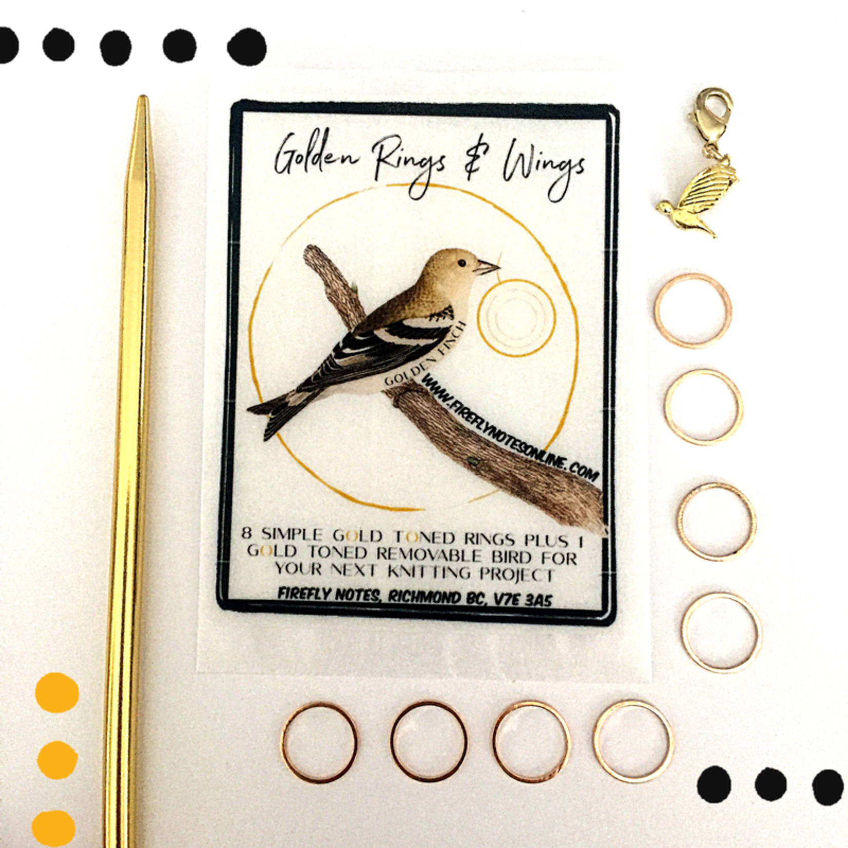 Firefly Notes Golden Rings and Wings Stitch Markers