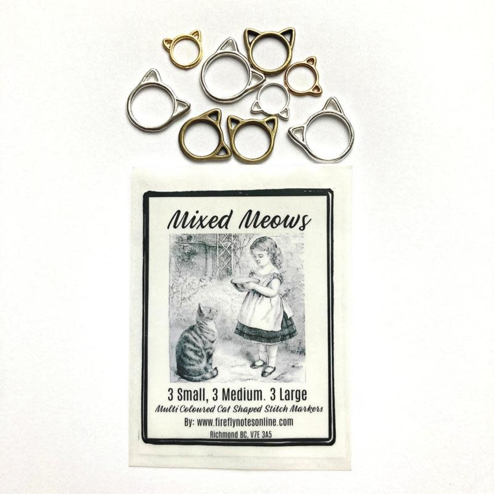 Firefly Notes Cat stitch markers, small, med or large, multi colours, knitting gift, Multi Pack
