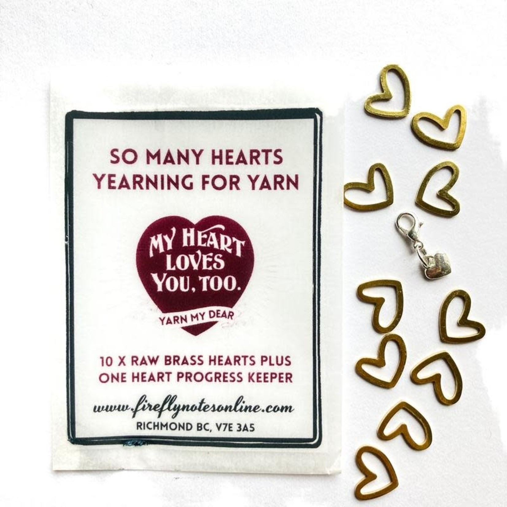 Firefly Notes Brass Hearts Stitch Markers Pack