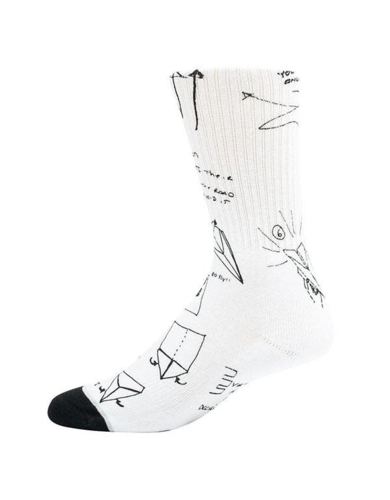 PAPER PLANES BY ROC NATION WHITE SKETCHED SOCKS