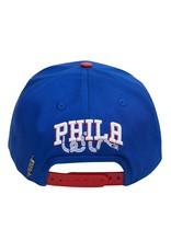 PRO STANDARD PHILADELPHIA 76ERS CITY DOUBLE FRONT LOGO SNAPBACK HAT
