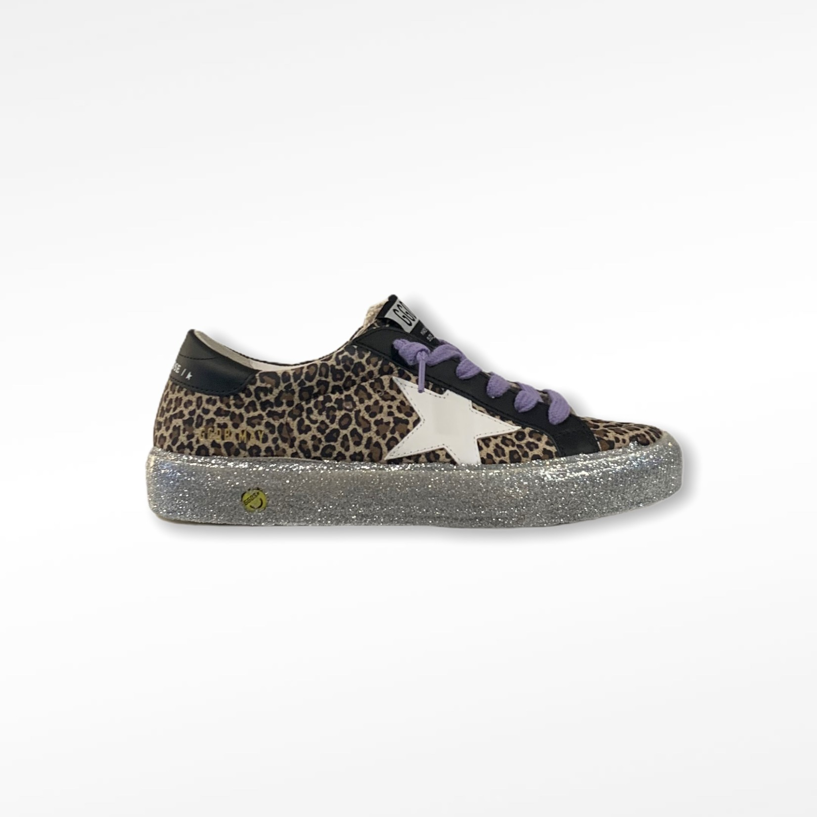 Golden Goose may leopard suede upper leather star and heel glitter sole