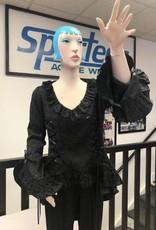 Victorian Vintage Black Lace Overlay Theatre Blouse