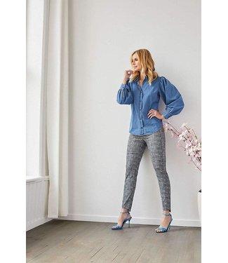 Up Pants Up Pants 66796 Grey Weave Print Hi-Lo Hem