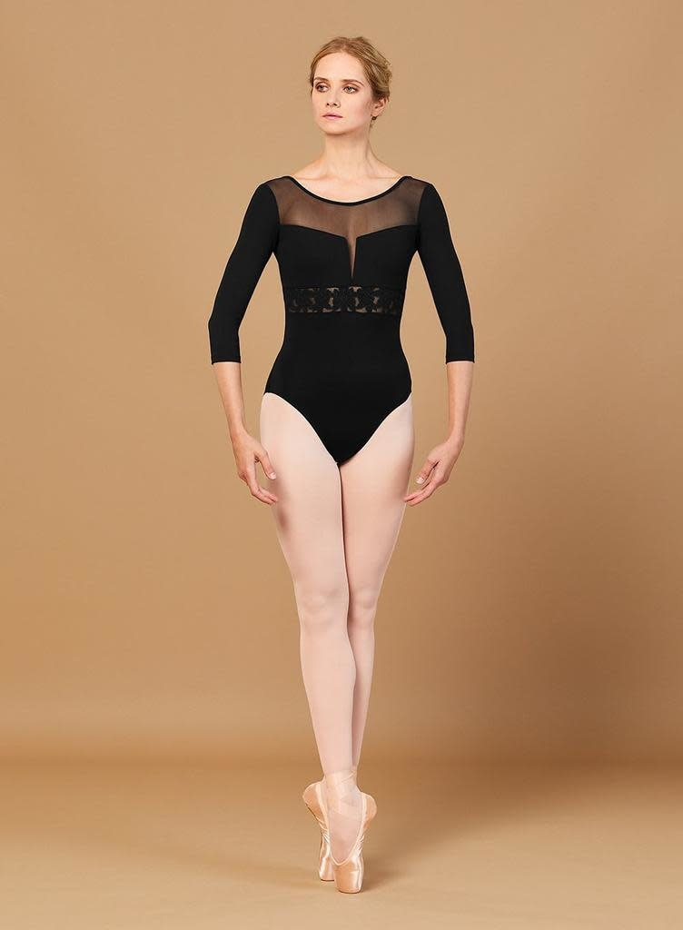 Bloch Bloch L5516 Embroidered 3/4 Sleeve Low Back Leotard /Bodysuit