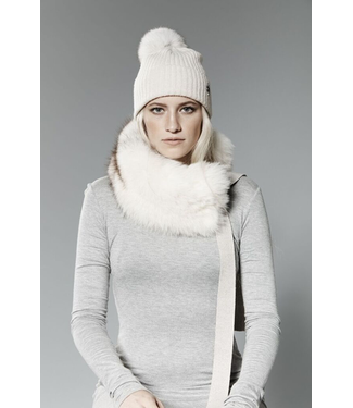 Canadian Hat Company Ltd. Harricana Recycled Fur Headband with Wool Backing and Ties, GREY WOOL WITH COYOTE FUR, O/S