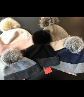 Canadian Hat Company Ltd. Canadian Hat Company Odette- Ormos Beanie with Fox Pom Pom, NAVY/GREY, O/S