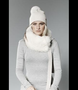Canadian Hat Company Ltd. Harricana Recycled Fur Headband with Wool Backing and Ties, BEIGE WOOL WITH NORGWEGIAN FOX FUR, O/S