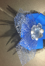 Feather Hairclip with Silver Mesh