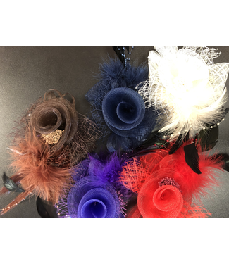 CA Tulle And Feather Flower Hair Accessory