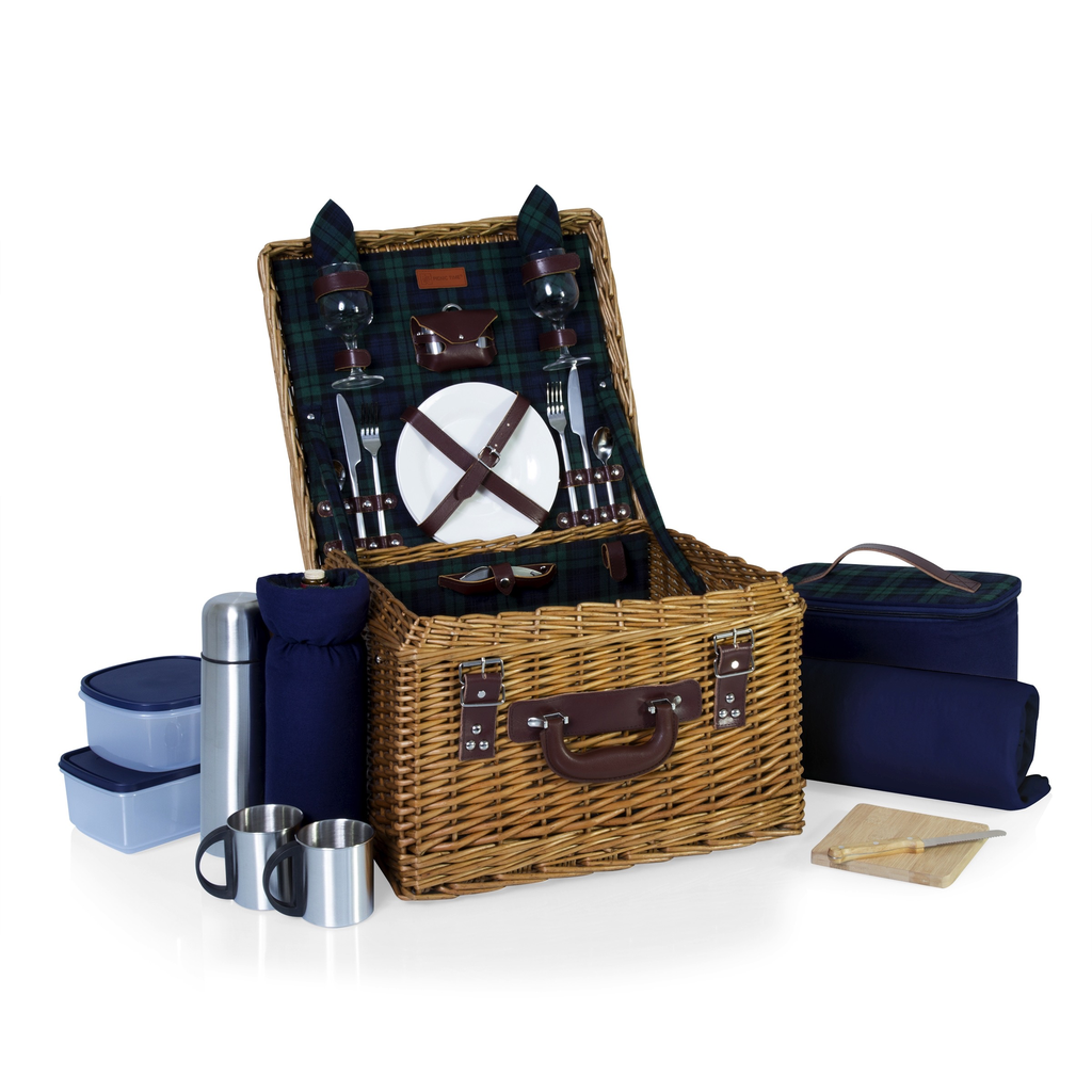 Gift Items PICNIC TIME 'Canterbury' English Style Picnic Basket with Deluxe Service for Two