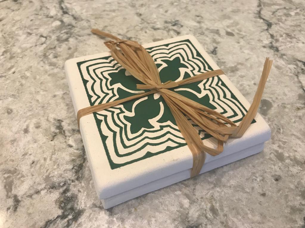 Art Joanna's Hawaiian Quilt Coasters Green