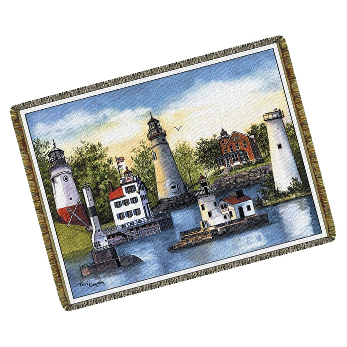 Textiles Lighthouse  Collage Throw