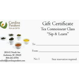 Service Gift Certificate Tea Connoisseur Class