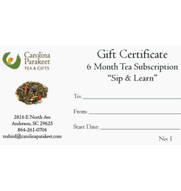 Service Gift Certificate 6 Month Tea Subscription