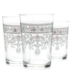Tea Ware Luxury Rosaly Relief Tea Glasses Silver on Clear