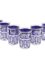 Tea Ware Essaouira Moroccan Water/Tea Glasses (Blue/Silver)