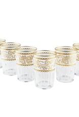 Tea Ware Essaouira Moroccan Water/Tea Glasses (White/Gold)