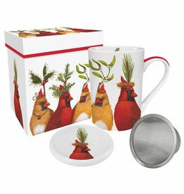 Tea Mug with Lid & Strainer and  Gift Box - Holiday Party