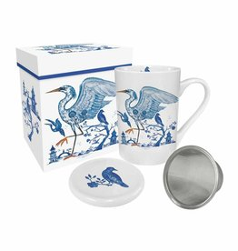 Tea Mug with Lid & Strainer in Gift Box - Prince'S Egret