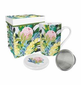 Tea Mug with Lid & Strainer in Gift Box - Royal Botanic