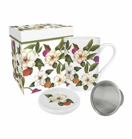 Tea Mug with Lid & Strainer in Gift Box - Southern Magnolias