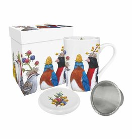 Tea Mug with Lid & Strainer in Gift Box - The Berry Festival