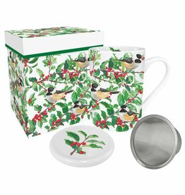 Tea Mug with Lid & Strainer in Gift Box - Yuletide Chickadees White