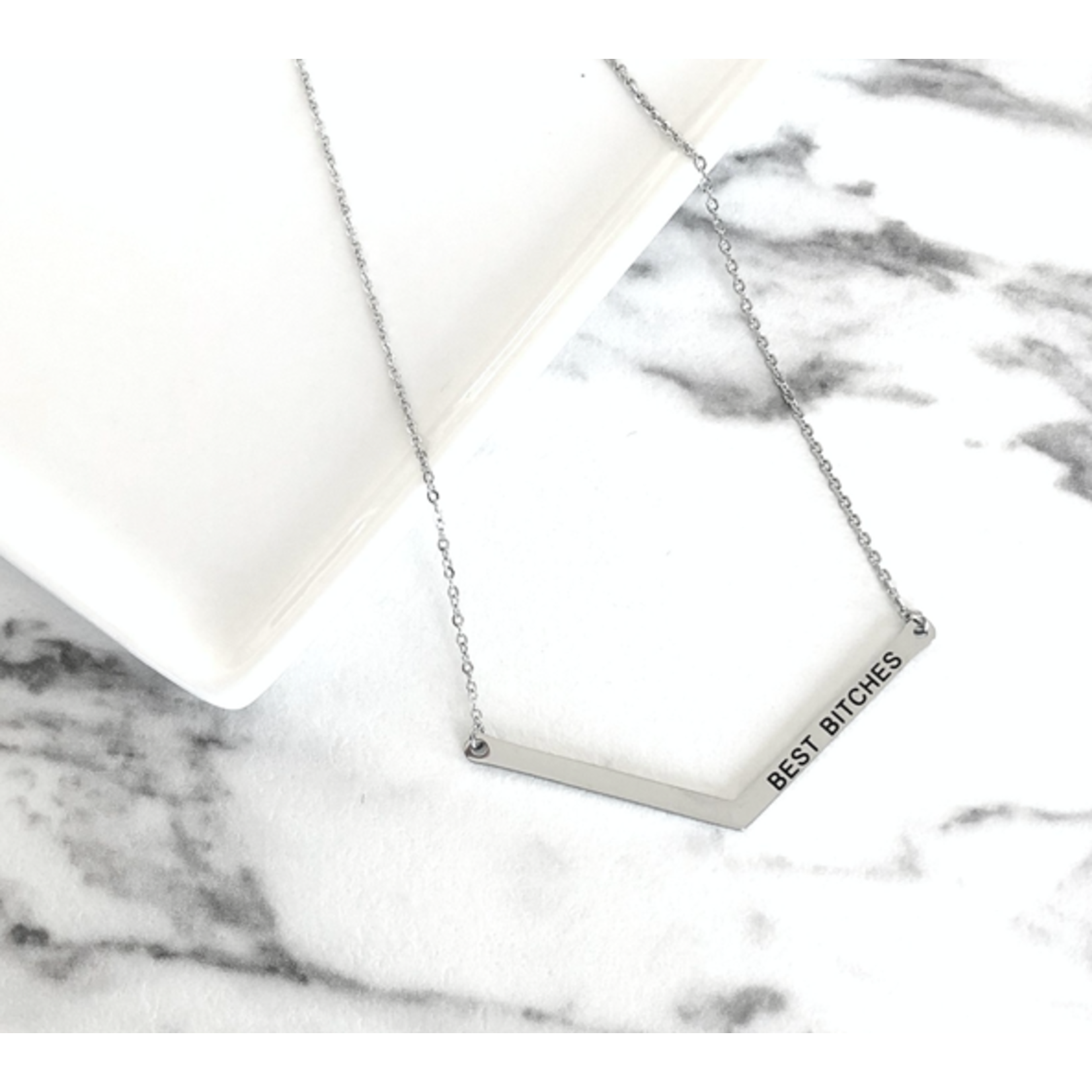 """Glasshouse Goods GHG Silver Necklace """"Best Bitches"""""""
