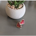 Prep Obsessed Red jewel heart earrings