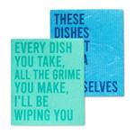 FT Pembroke Swedish dish cloth - Funny text 2 pack