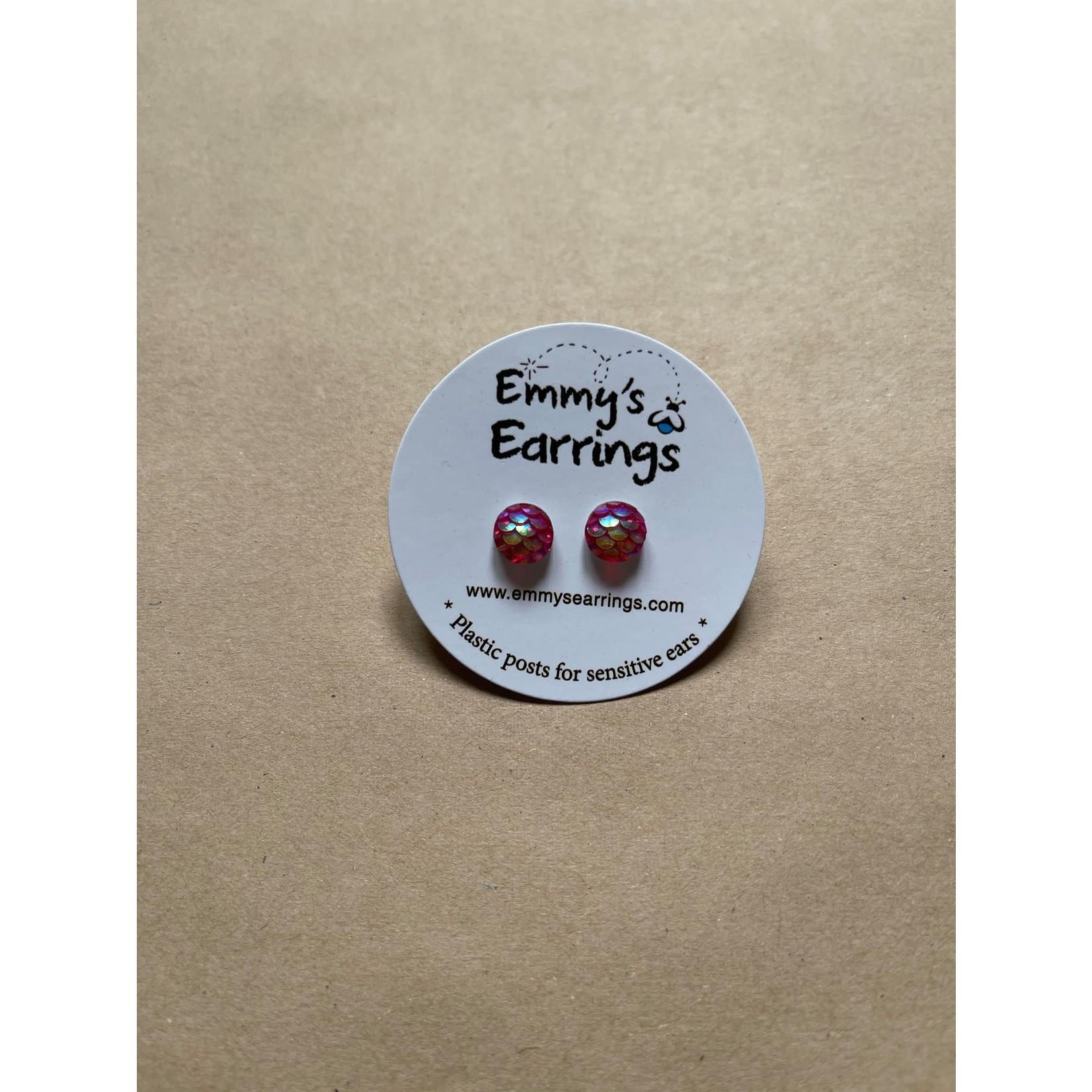 Emmy's Earrings Pink mermaid  scale Emmy's earrings