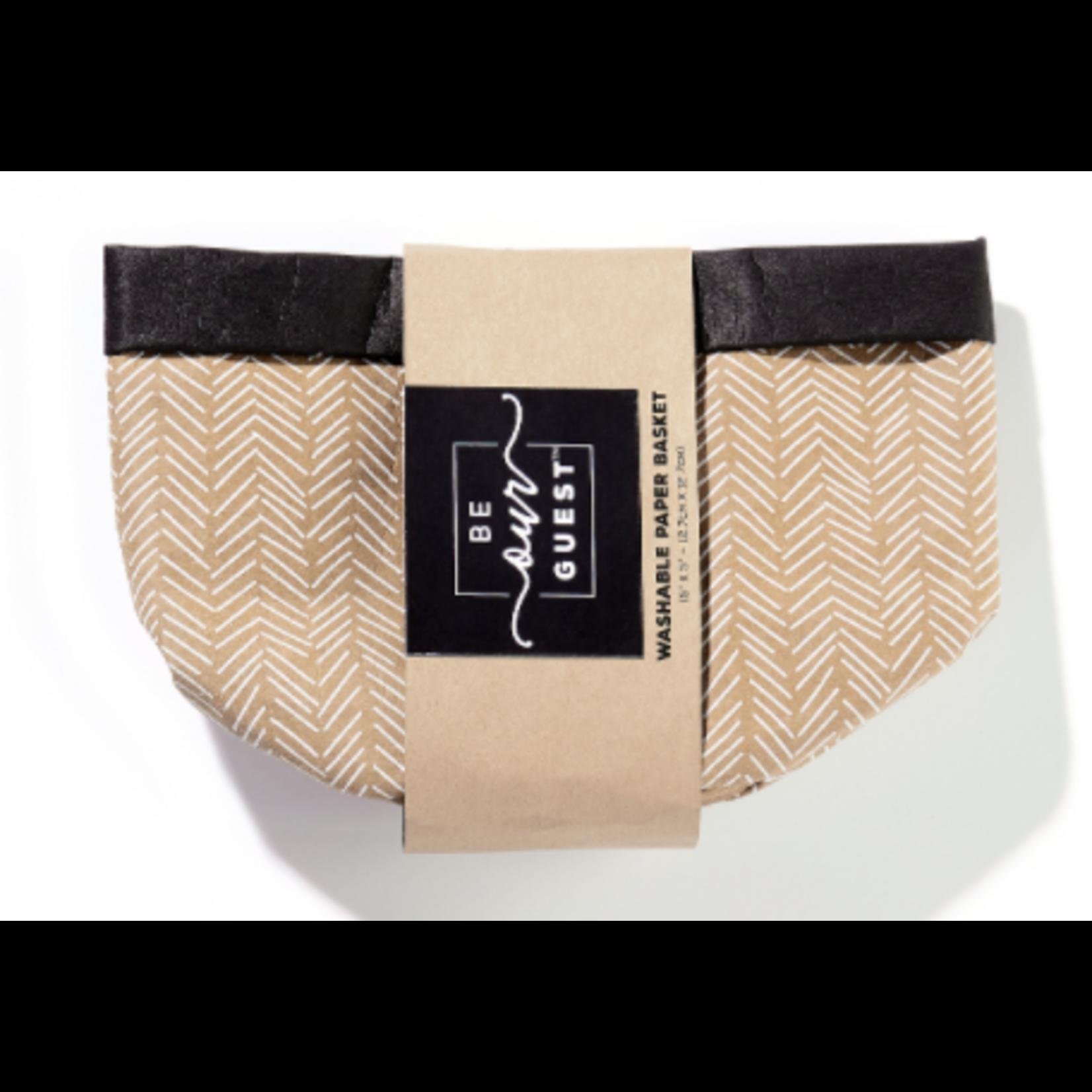 Be Our Guest Washable Kraft Paper Bag/Basket - Cheveron