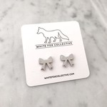 White Fox Collective WFC silver bow studs