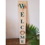 Favourite Things wood Welcome sign - deep teal & forest green