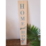 Favourite Things wood Welcome sign - light blue & deep teal