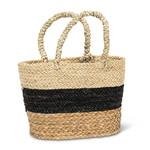 Abbott Natural with black stripe market tote
