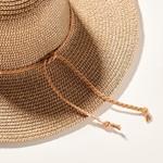 Avenue Zoe Metallic Accent Straw Hat - Brown