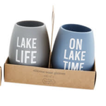 Mud Pie 2 pack of silicone wine glasses - Lake time