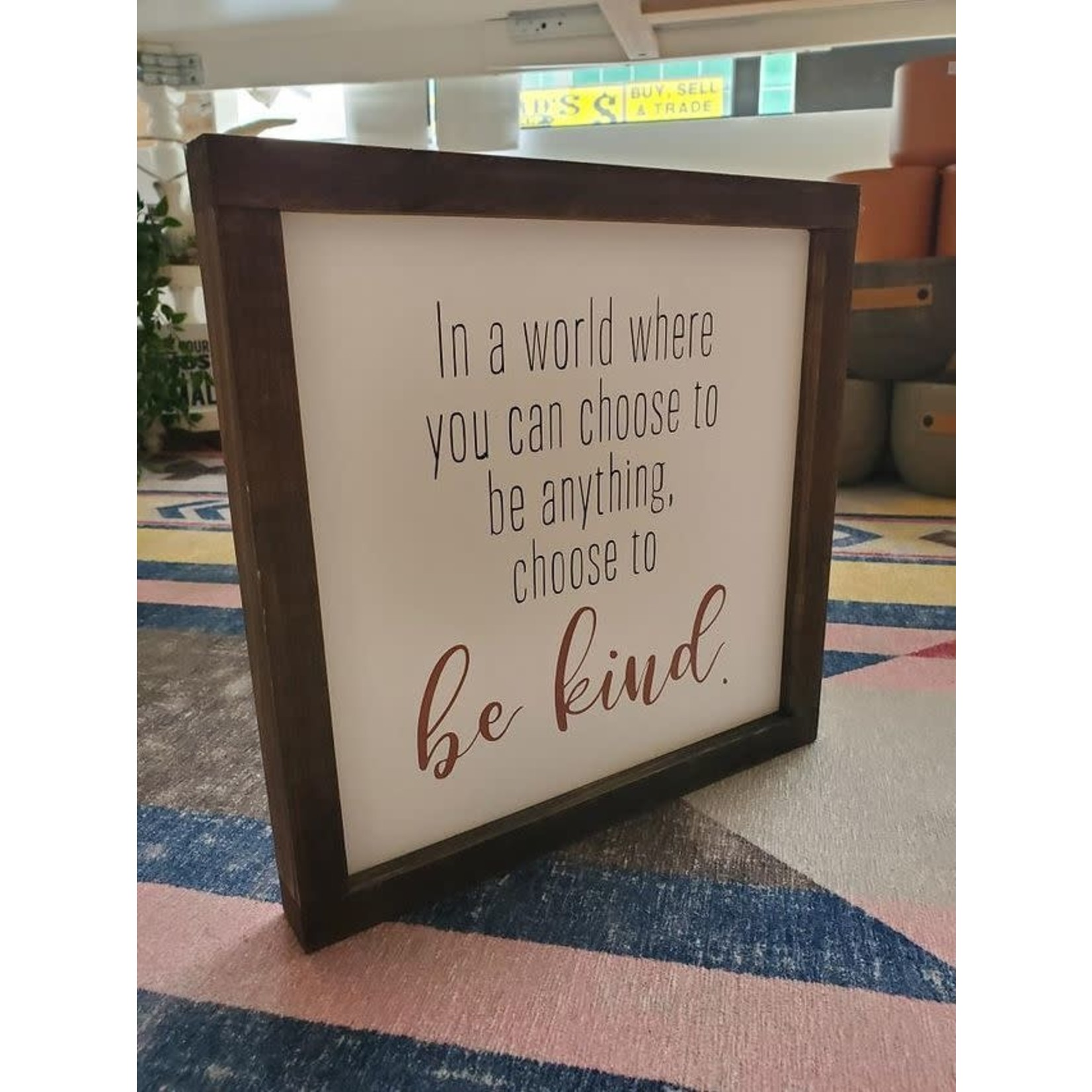 Favourite Things wood In a world where... 10x10 framed sign