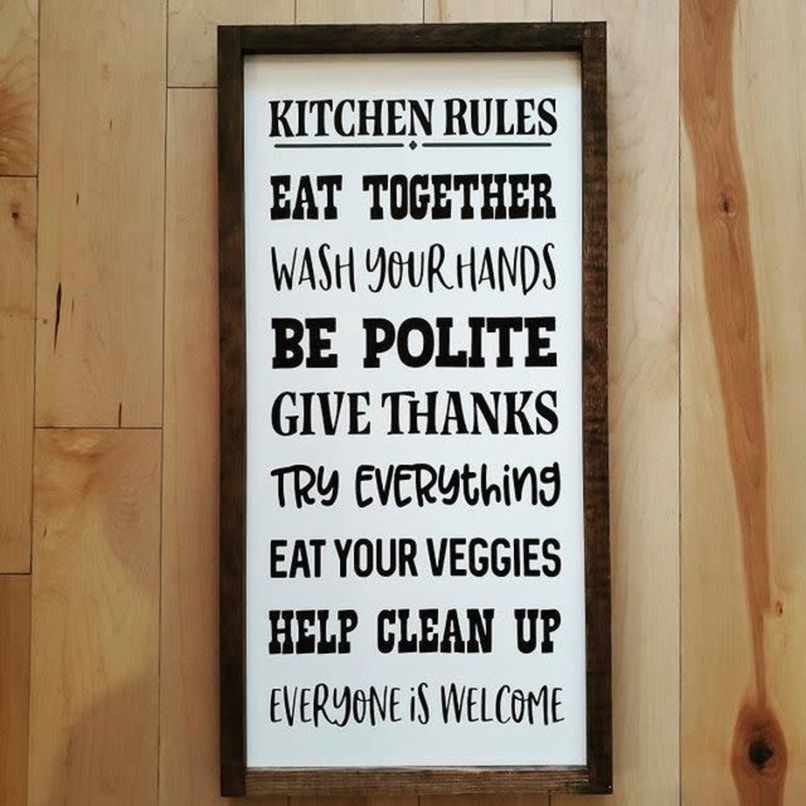 "Kitchen rules 12x24"" framed sign"