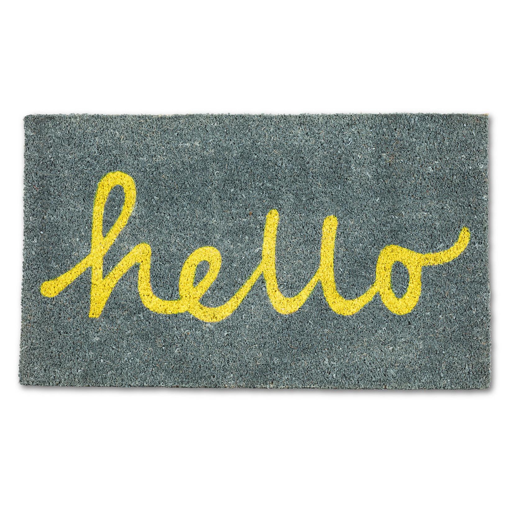 Yellow & Grey Hello door mat