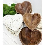 Live Young Market Small Wooden Heart Dough Bowl - White