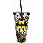 spoontiques Batman glitter cup with straw