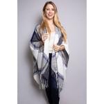 Good Stuff Apparel Women's Drape Poncho - Navy, White, Grey