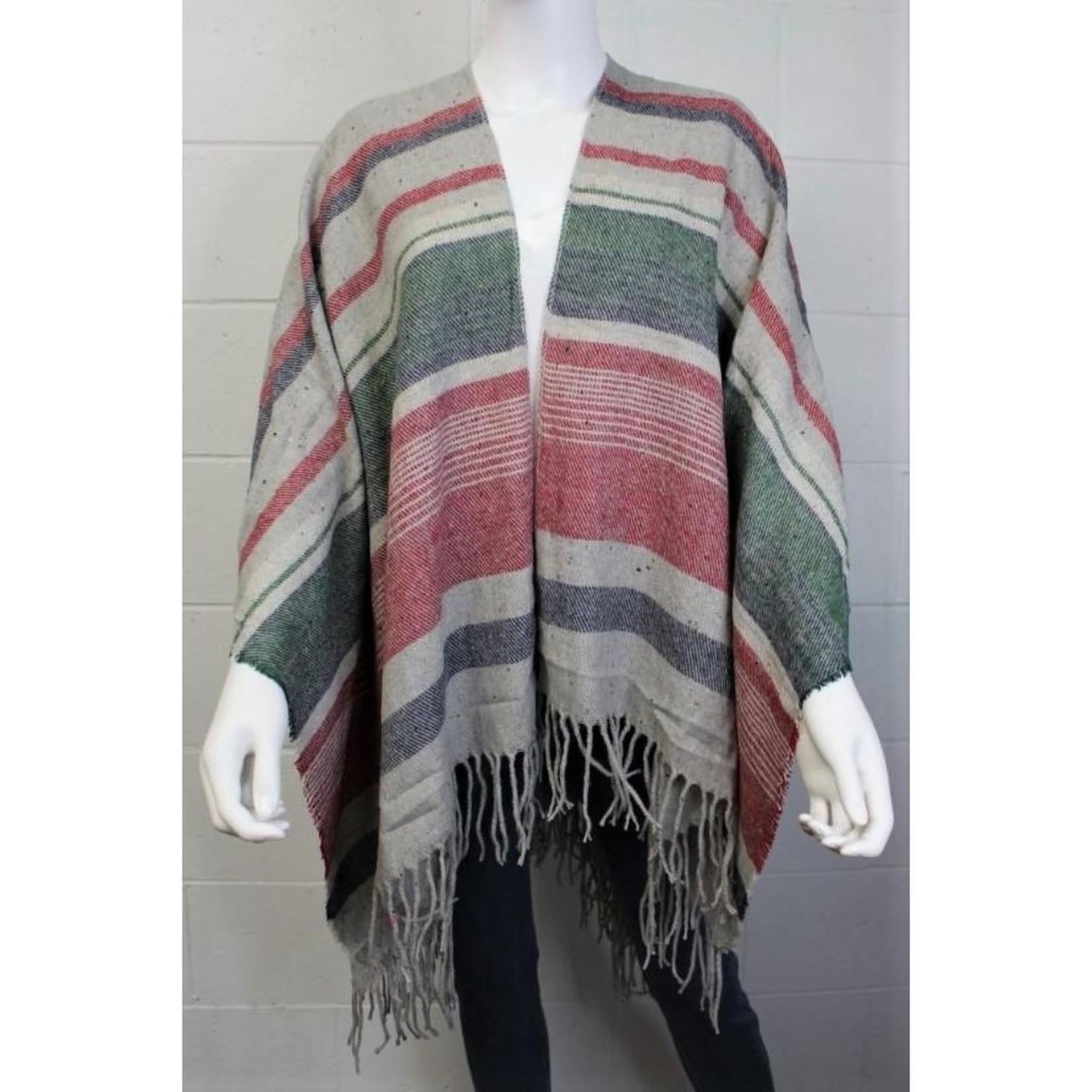 Women's Drape Poncho - Rust, Olive & Navy