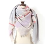 Favourite Textiles Grey & Red Plaid Blanket Scarf