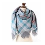 Favourite Textiles Grey & Blue Plaid Blanket Scarf
